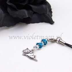 cellphone straps with stretching Cat charms blue