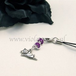 cellphone straps with stretching Cat charms violet