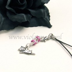 cellphone straps with stretching Cat charms pink