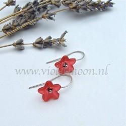 Red lucite flower earrings