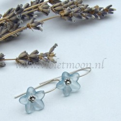 Baby blue lucite flower earrings