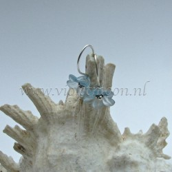 Baby blue lucite flower earrings