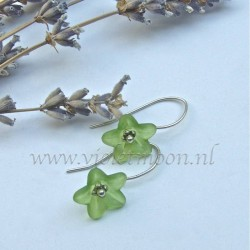 Green lucite flower earrings