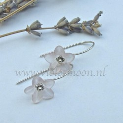 Pink lucite flower earrings