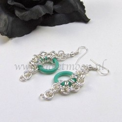 Chain maille earrings with seagreen rubber rings.