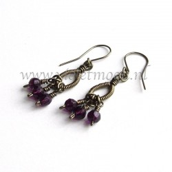 Wire wrapped drops earrings with burgundi firepolished beads