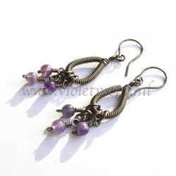 Wire wrappen drops earrings with Fluorite