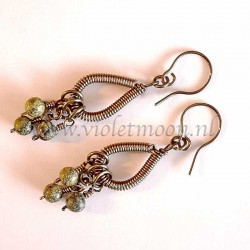 Wire wrappen drops earrings with Green Lace Agate