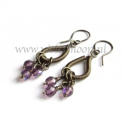 Wire wrapped drops earrings with purple firepolished beads