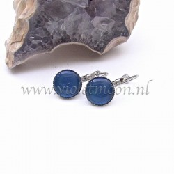 Colourful cabochon earrings Vibrant Blue