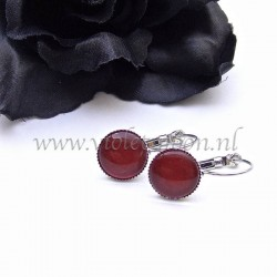 Colourful cabochon earrings Illuminus Red