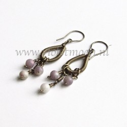 Wire wrappen drops earrings with Lavender Stone
