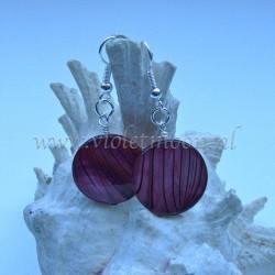 Purple striped mother of pearl earrings