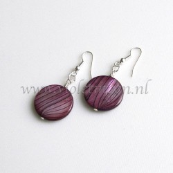 Purple striped mother of pearl earrings