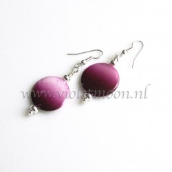 Purple to pink fading mother of pearl earrings