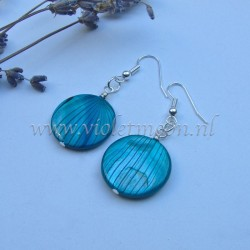 Turquoise striped mother of pearl earrings