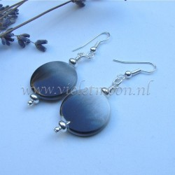 Black to grey fading mother of pearl earrings