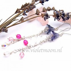 Earrings Fleurtje, super long earrings that start as a purple flower and end in a waterfall of transparent drops and fuchsia, pink and crystal AB
