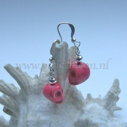 Red Howlite skull earrings.