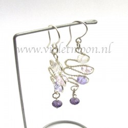 color cascading wire wrapped earrings from transparent to purple in these lovely earrings.