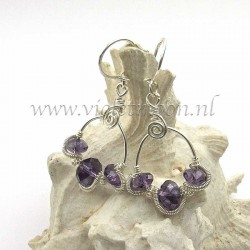 non tarnish silver plated artistic wire wrapped earrings with purple fire polished beads