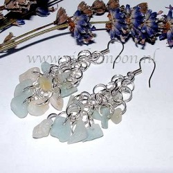 Shaggy Loops earrings with Aquamarine gemstone chips