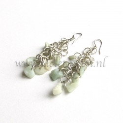 Shaggy Loops earrings with Aquamarine gemstone chips