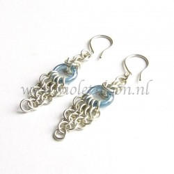 Silver plated chain maille earrings with blue glass rings