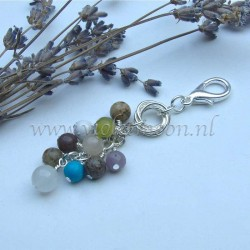 bag charm with mixed gemstones