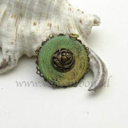 handpainted vintage rose pendant