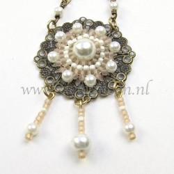 Lavinia, bronze vintage look wire wrapped necklace with white glass pearls