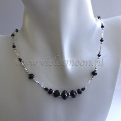 Choker style necklace with black fire polished rondel beads