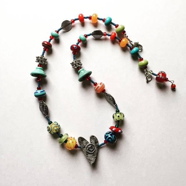 PMC Heart With Lampwork and SS