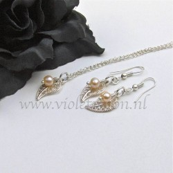 Jewelry set with silver plated  filigree Leaves and fresh water pearls