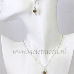 Jewelry set with silver plated  filigree Leaves and Goldstone