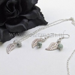 Jewelry set with silver plated  filigree Leaves and Kiwi Jasper