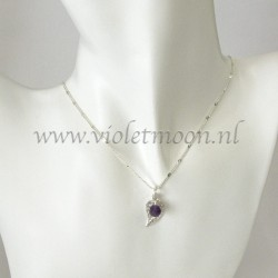 Jewelry set with silver plated filigree Leaves and Amethyst