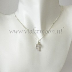 Jewelry set with silver plated filigree Leaves and facet Rock Crystal