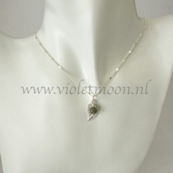 Jewelry set with silver plated filigree Leaves and Green lace Agate