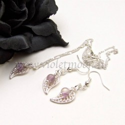 Jewelry set with silver plated filigree Leaves and Fluorite