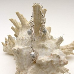 Jewelry set with silver plated filigree Leaves and Natural Howlite