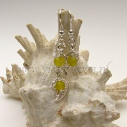 Jewelry set with silver plated filigree Leaves and Peridot