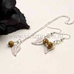 Jewelry set with silver plated filigree Leaves and Picasso Jasper
