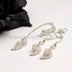 Jewelry set with silver plated filigree Leaves and Rose Quartz