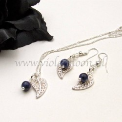 Jewelry set with silver plated  filigree Leaves and Sodalite