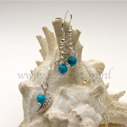 Jewelry set with silver plated  filigree Leaves and Turquoise Howlite