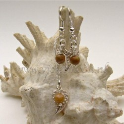 Jewelry set with silver plated  filigree Leaves and Unakite