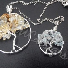Tree of life, silver and citrine and aquamarine