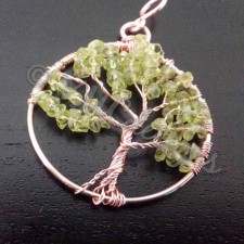 Tree of life, rosegold and Peridot