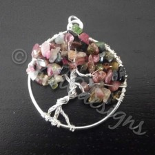 Tree of life, silver and Tourmaline